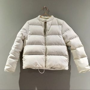 J Crew | White Down Filled Puffer Jacket Small